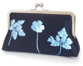 Blue ferns clutch bag, silk purse, navy blue, woodland wedding, bridesmaid gift, ON SALE