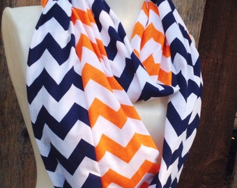 Broncos's Scarves, Orange & Navy Chevron Scarf, Fall Scarves, Denver women's scarves, football scarves,Syracuse, accessories, scarves, scarf