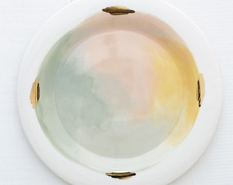 Denali Porcelain Handpainted Organic Dinner Plate in 14k Luster, Pink, Yellow, and Mint Green // Perfect for a Modern Kitchen