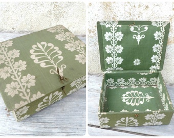 Vintage Antique 1900 Edwardian French floral boudoir box /sewing box /fabric box