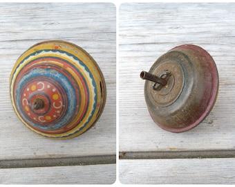 Vintage Antique 1900 French miniature tin whirligig / Antique toy