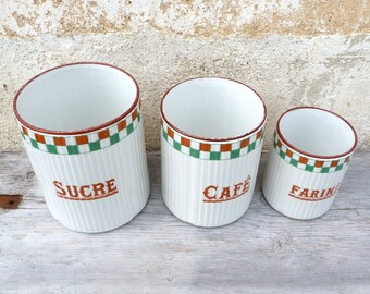 Vintage Antique 1900/1930 old French ceramic canisters / ceramic pots / Set of 3/Sugar/coffee/Flour