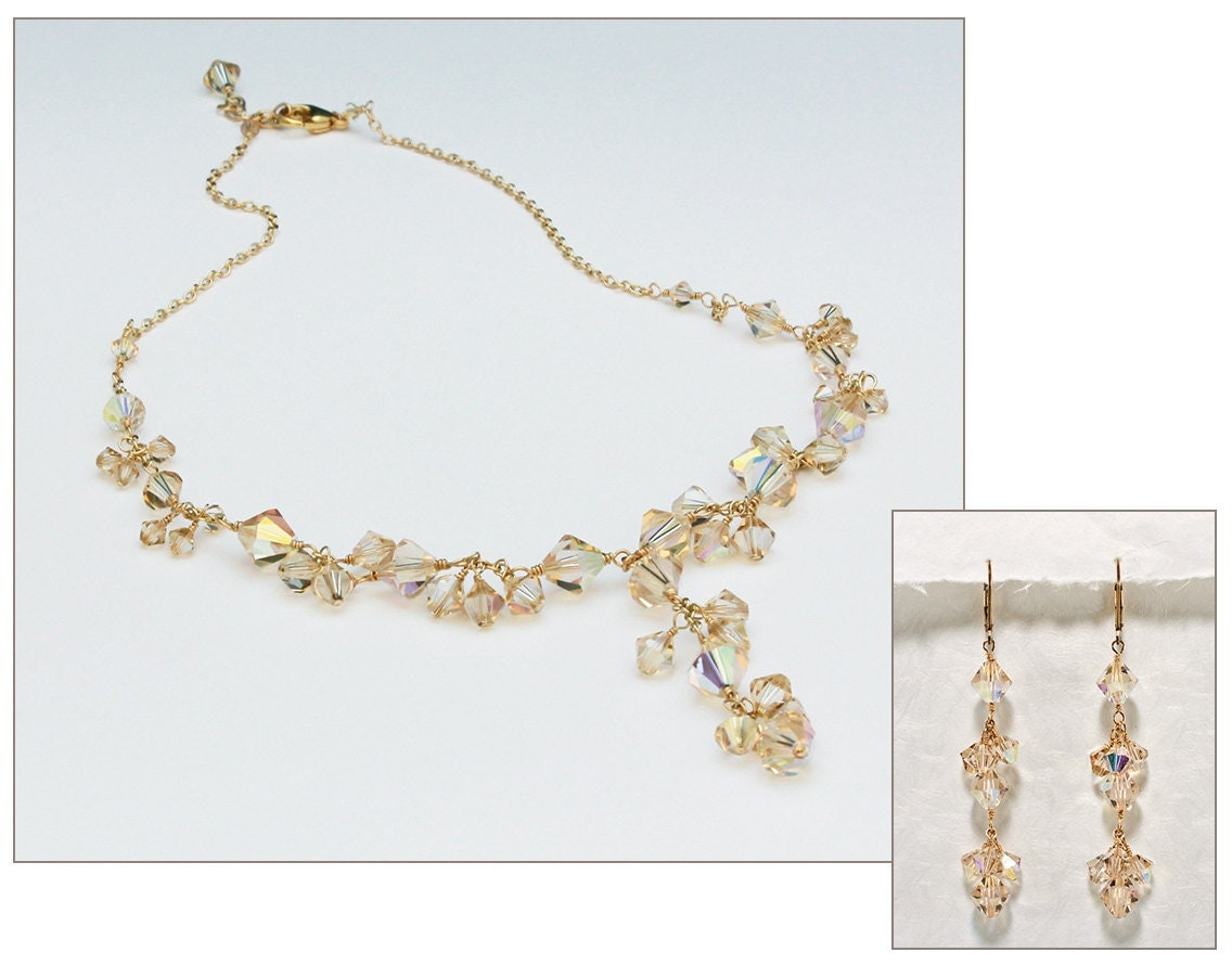 Champagne bridal jewelry set crystal statement necklace for Jewelry for champagne wedding dress