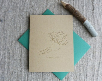 Letterpress Greeting Card - French Market - Beet - FRM-176
