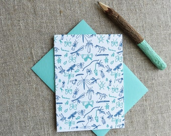 Letterpress Greeting Card - Everyday Notecard - Bugs Illustration Pattern - EGP-193
