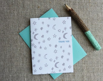 Letterpress Greeting Card - Thank You Card - Night Sky Illustration Pattern - EGP-192