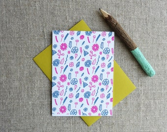 Letterpress Greeting Card - Everyday Notecard - Wildflower Illustration Pattern - EGP-184