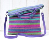 Striped Wool Fold Over Purse Cross Body Bag in Blues Purples and Pink