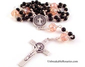 St Benedict Rosary Beads For Women in Black Onyx and Pink Czech Glass by Unbreakable Rosaries