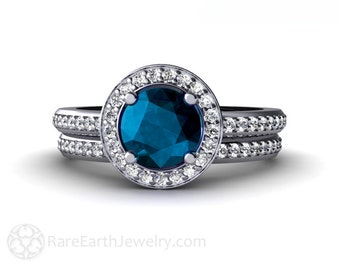 London Blue Topaz Engagement Ring & Wedding Band Diamond Halo Wedding Set Blue December Birthstone