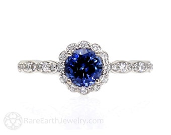 Blue Sapphire Engagement Ring with Diamond Halo Custom Sapphire Ring 14K or 18K Gold or Platinum