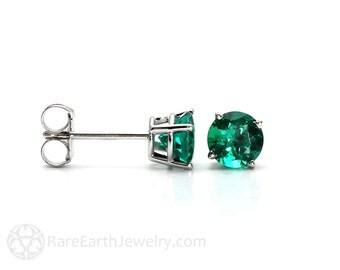 14K Emerald Earrings Emerald Stud Earrings Emerald Studs Post Earrings May Birthstone