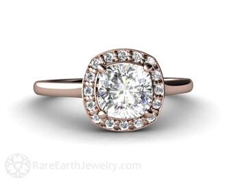 Petite Cushion Diamond Halo Semi Mount Engagement Ring Conflict Free 14K or 18K Gold
