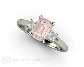 3 Stone Morganite Ring Morganite Engagement Ring Emerald Cut Solitaire with Diamonds 14K or 18K Gold Gemstone Ring