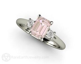 3 Stone Morganite Ring Morganite Engagement Ring Emerald Cut Solitaire with Diamonds 14K or 18K Gold Gemstone Ring