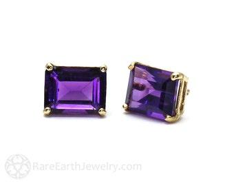 Amethyst Earrings Amethyst Studs Emerald Cut February Birthstone 14K Gold Post Earrings Purple Gemstone