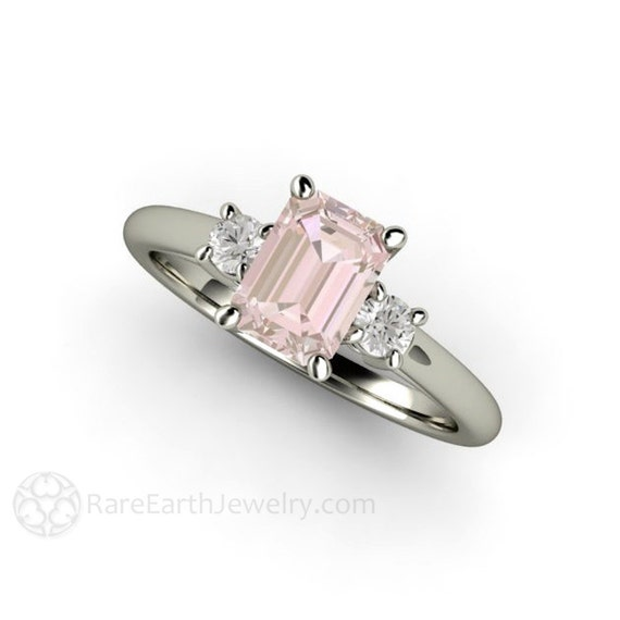 3 Stone Morganite Ring Morganite Engagement Ring Emerald Cut Solitaire with  Diamonds 14K or 18K Gold