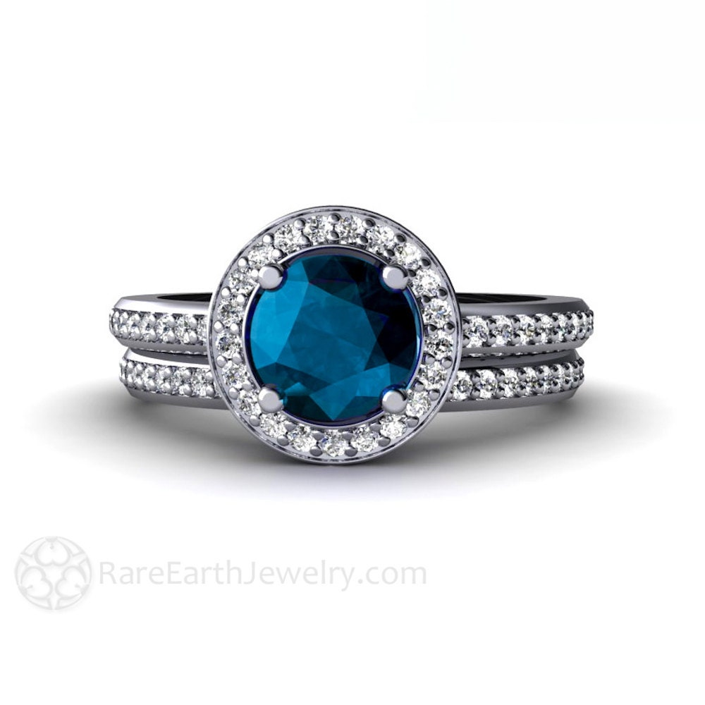 London blue topaz engagement ring wedding band diamond halo for Blue topaz wedding ring sets