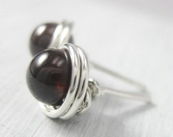 Garnet Stud Earrings 6mm Wire Wrapped Sterling Silver --Simply Studs