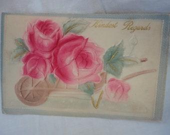Early 1900's Embossed Vintage Kindest Regards Postcard Printed in Germany