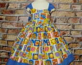 Girl Dress, Bubble Guppies Inspired Dress, Girls Dresses, Blue Polka Dots Dress, Fall Dress, Birthday Girl Dress,Toddler Dress, Infant Dress