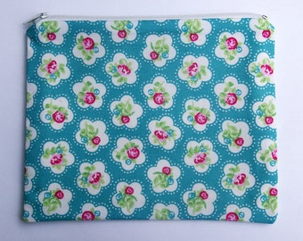 Zip Purse Pouch Retro Floral Teal Raspberry
