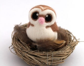 Needle Felted Barn Owl Felted Miniature, Felt Bird, Felt Owl Decoration