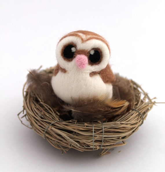Needle Felted Barn Owl Felted Miniature in Dark Beige