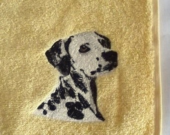 Dalmatian Dog Embroidered Hand Towel