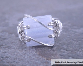 Blue Lace Agate Sterling Silver Wire Ring