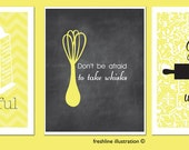 Kitchen Art, Be Grateful, Kitchen Print Set