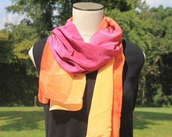 Sunset . . . hand painted silk scarf, crepe de chine