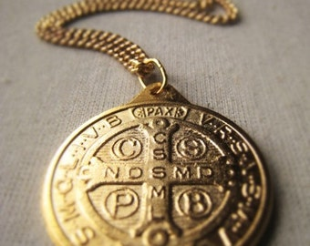 Gold Religious Coin Medal Necklace Ornate St Benedict Medal Item No. 9007