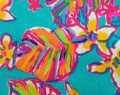 """lilly pulitzer's sea blue summer haze dobby cotton fabric square 18""""x18"""""""