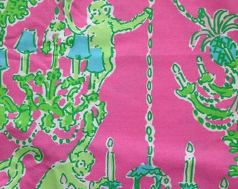 """hotty pink monkey trouble egyptian cotton fabric square 12""""x12"""" ~ lilly pulitzer ~ garnet hill"""