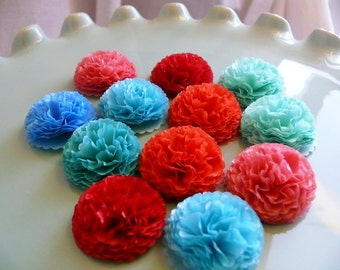 Tissue Paper Flowers  1 inch Button Mums Wedding, Bridal Shower, Baby Shower Decor  Bright Day, Engagement Party, Tea Party