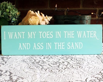 Toes In The Water Beach Wood Sign Handcrafted Wall Decor Coastal Funny Saying
