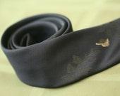 Navy Blue Skinny Tie, vintage narrow neck tie by Superba