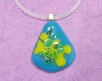 Blue Green and Yellow Necklace, Fused Glass Jewelry, Teardrop Pendant - Kindred Spirit - 227-5