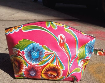 """Hot Pink Mexican Floral Oil Cloth Cosmetic Case, 9"""" Oil Cloth Make Up Toiletry Pouch."""