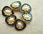 6 Vintage plastic buttons blue with gold color and white plastic in the center 24mm