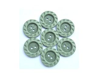 6 Vintage buttons unique green plastic 23mm