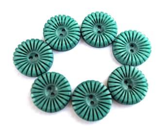 4 Vintage flowers buttons plastic 19mm, unique blue green, RARE