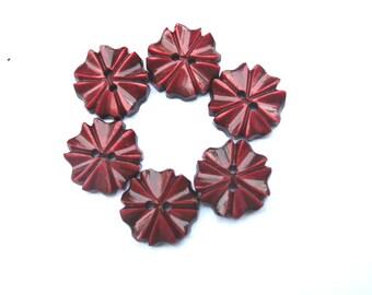 6 Vintage flowers buttons plastic 14mm, unique warm red, RARE