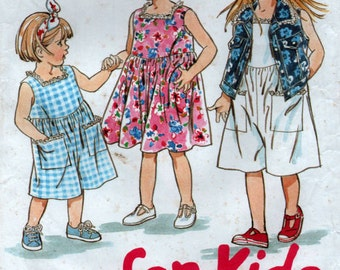 Easy Girls Dress Playsuit and Sleeveless Jacket 1990s Sewing pattern Size 2 to 7 years New Look 6040