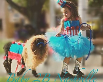 Turquoise and Red Circus Ringmaster Costume Tutu Set  All Sizes Baby - 8