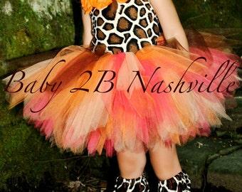 Safari Giraffe Costume With Leggings,  Birthday Tutu  Pageant Outfit of Choice,  Orange GiraffeTutu Baby - Girls 8