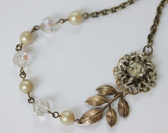 Vintage Art Deco Wedding Necklace Vintage Bridal Pearl Necklace Pearl Crystal Necklace OOAK Vintage Jewelry