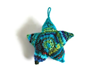 Christmas Star Knitted with Teal Blue Green Wool