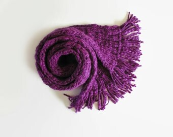 Phlox Purple Wool Chunky Knit Scarf with Fringes, Long, Man, Neck Warmer, Thick, Wrap, Cute, Hand Knit, Womens Scarves, Winter Accessories